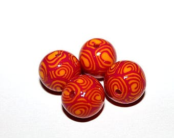 set of 4 beads round polymer clay (ref 009)