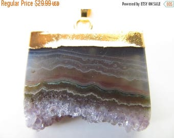 SALE Amethyst Druzy Slice Necklace  - Natural Gemstone and Gold Pendant - 18K Gold Plated Chain - Crystal Druzy Pendant - Raw Amethyst Penda