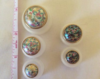 Impressionist style enamel and 24K gold buttons in White or Black  sizes 1/2, 3/4, and 1 inch