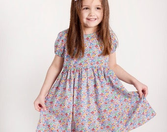 DAISY Handmade Liberty of London Print SHORT Sleeve Girls Dress