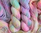 New **Glittery Sparkly** Unicorn set of 2 skeins. Hand Dyed 2-skein yarn. New glittery yarn base. Fingering weight.