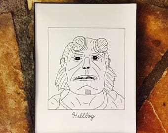 "Subpar Hellboy Drawing Print/ Ron Perlman /Hand-Drawn/TV/Movie/8.5"" x 11""/Thick Card Stock Paper!"