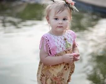 Vintage Floral Lace Tassel Romper Baby/Toddler