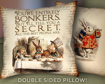 "Alice in Wonderland Pillow Cover - 18"" x 18"" - Alice in Wonderland Mad Hatter Bonkers Pillow Cushion - Alice Pillow Case & Cushion - 2014"