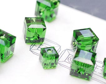 10PCS Green Austrian Crystals Beads, 4MM/6MM/8MM Beads, Cube Beads, Moss, May Birthday Stone, Jewelry Finding, Supplies