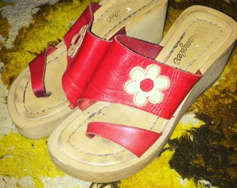 Vintage WRANGLER 70s 70's seventies red leather wedges sandals shoes platforms uk 5 usa 7.5 euro 38