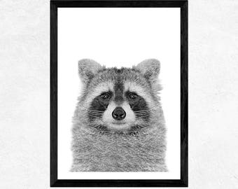 Raccoon art print Woodland Nursery decor Animal print Raccoon wall art Kids gift Digital Raccoon print gift for Kids Baby shower Baby gift