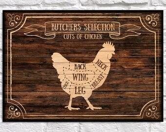 Butcher chart Fodie Gift Wood wall art Women gift for Men Butcher sign Kitchen print gift for Women Panel effect Wood wall decor