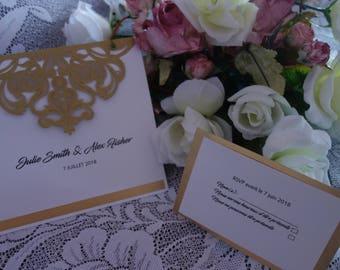 wedding invitation wedding invitation kit, romantic wedding, white and gold, elegant wedding RSVP card, embellishment