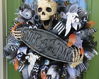 Skeleton Wreath, Halloween Skeleton Wreath, Halloween Skeleton, Enter if you Dare, Halloween Wreath, Scary Halloween wreath, Scary Halloween