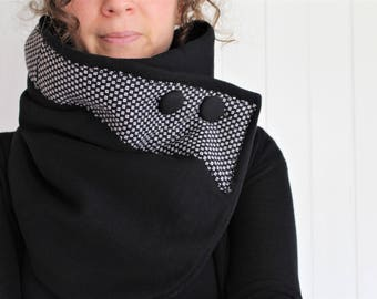 Black scarf, Neck warmer, winter scarf, women scarf, upcycled clothing, zel ecodesign