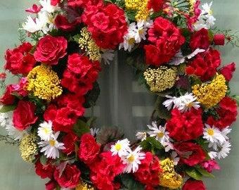 Geranium Wreath, Summer Wreath, Door Wreath, Silk Flower Wreath, Geraniums and Roses, Reds and Yellow Wreath, Silk Floral Wreath, Florals