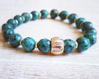 Green Bead Bracelet  |FREE US SHIPPING| Jasper Gemstone Bead Bracelet Jewelry Green bracelet Bead Bracelet Beaded Jewelry Boho Bracelet