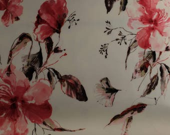 SCUBA FABRIC - Red Summer Floral