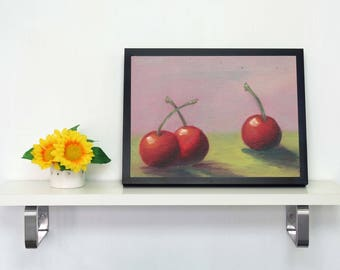 Original Oil Painting-Cherry Painting - Fruit Oil Painting - Cherry Home Decor - Cherry Wall Decor - Kitchen Painting - Gift For Foodie