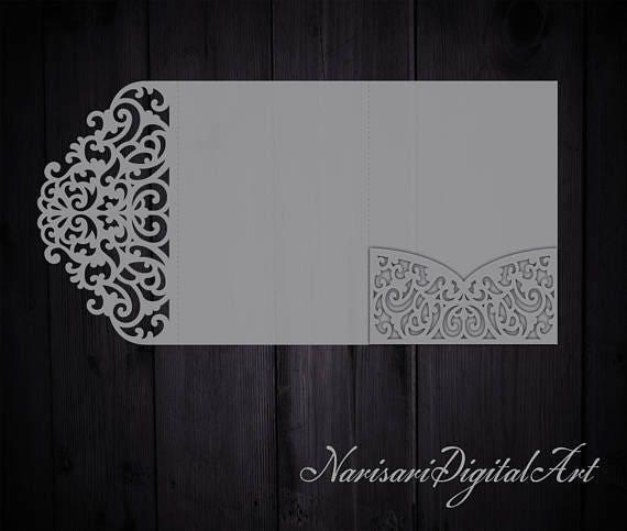 Tri Fold 5x7 Wedding Invitation Pocket Envelope Svg Template