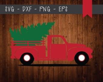Christmas Tree Truck Digital Design-SVG-DXF-EPS