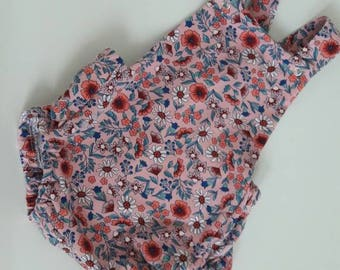 Baby floral summer romper, baby clothes, baby romper, girls romper, baby romper, girls romper dungarees, floral romper baby, pink romper