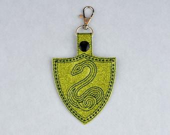 Minimalist Slytherin crest snap tab key fob ITH machine embroidery design 4x4