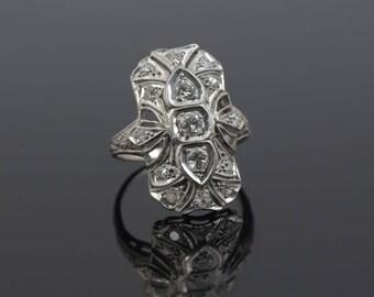 Platinum Art Deco Diamond dinner ring