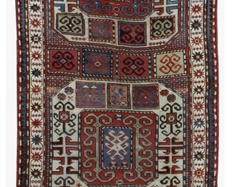 Handmade antique Caucasian Karabagh rug 4.2' x 8.3' ( 128cm x 253cm ) 1880s