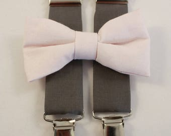 grey suspenders and bow tie pale pink