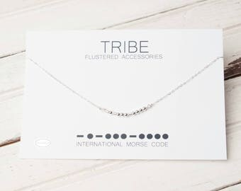 Sale Tribe Morse Code Necklace, Bachelorette, Tribe, Wedding Party Gift, Sorority, Best Friends Jewelry, Message Jewelry, Friend Gift