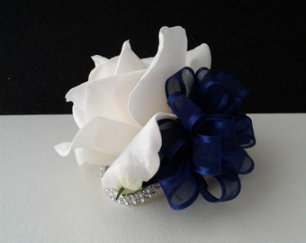 Ready to Ship White and Navy Wrist Corsage-White Rose Corsage-Wedding Corsage-Prom Corsage-Homecoming Corsage