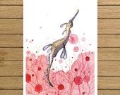 "Sea Dragon, Sea horse, Coral Reef, Giclée Print, Watercolor Illustration, Home Decor, Nursery Decor, Whale, A5, 8.5""x11"", A4, A3, 13""x19"""