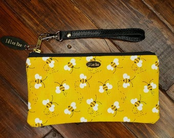 Bumble Bee Wrislet, Cell Phone Wallet, Small Purse, Purse with bees