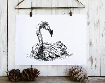 Flamingo printable - Black and white poster, Printable wall art, Flamingo art, Art & collectibles, dorm decor