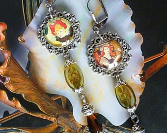 "New ""Cancan"" 1900 poster glass cabochon, Czech glass, Silver earrings"