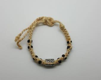 Silver and black beaded hemp anklet, bracelet  (HAN006)