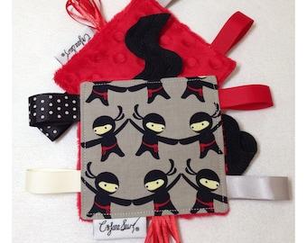 Ninja tag toy, sensory toy, baby crinkle paper, crinkle tag toy, teether, ninja baby toy, ninja baby gift