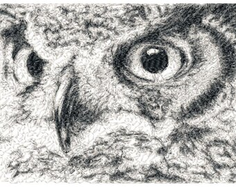 5x7 hoop photorealistic OWL Machine Embroidery Design File, digital download