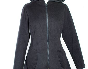 Elven fairy hood coat sharp coat style wool black Fairy unique model coat