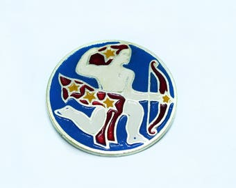 Sagittarius enamel pin back button - Zodiac sign enamel pin badge - Zodiac enamel pin - Soviet vintage pin - Collectible pin made in USSR
