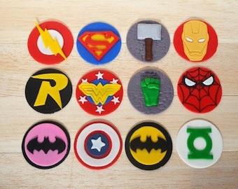 Super hero cupcakes, Super Hero Party, Super Hero Fondant, Superman, Batman, Batgirl, Wonder Woman, Spiderman, Thor, Iron Man, Flash