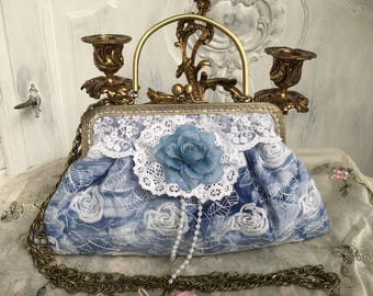Handbag, evening bag shoulder bag, bow bag, bridal bags, Dirndl, shabby