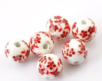 Set of 4 red 12mm ceramic beads