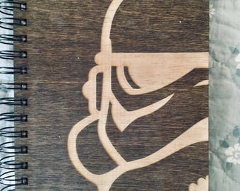 Storm Trooper Etched Wooden Notebook