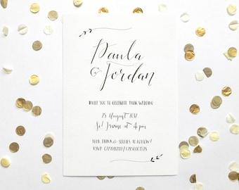Elegant hand-drawn wedding invitations, typography, modern calligraphy