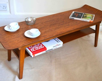 Fantastic vintage Myer Danish style two-tier teak coffee table. Delivery. Modern / Midcentury.