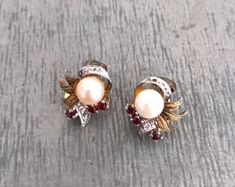 Small clip on earrings, vintage earrings, gold, rhinestone and ruby red earrings, pearl earrings, vintage pearl earrings, pearl and ruby red