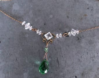 Vintage glass necklace, vintage crystal necklace on rolled gold wire, Art Deco glass necklace, bridal necklace, vintage bridal, green glass,