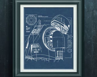 Star Wars Rogue One Poster Star Wars Enforcer Droid K-2S0 Print Sci-Fi Rogue One Movie Poster Pre Teen Gift Pre Teen Room Wall Decor PP 4766