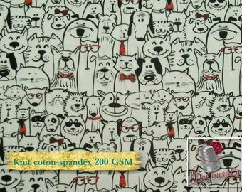 Knit, 200 gsm, Dogs, cotton-spandex, 95-5%, jersey, spandex, multiple quantity cut in one piece,