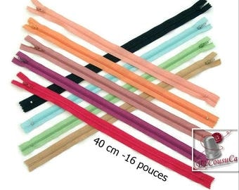 50%, (1.30 reg), 40cm, zipper, #3, 16 inchs, varied color, varied size, nylon, perfect for wallets, clothing, repair, creation,