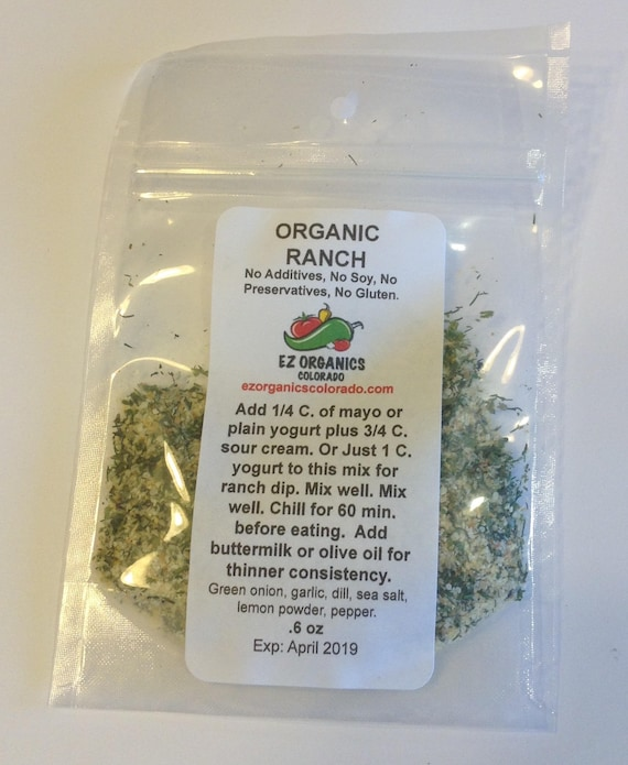 1 package Organic Ranch Dressing Mix, No Dairy no additives no preservatives. Low salt No MSG