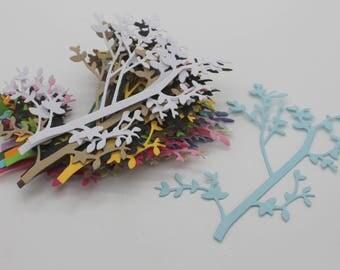 Cherry tree branch: set of die - cut embellishment scrapbooking cardstock paper cutouts